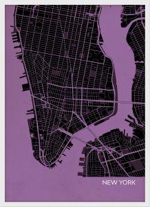 Small New York City Street Map Print - Mauve (Wood Frame - White)