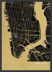 ARCH B New York City Street Map Print - Straw (Wood Frame - Black)