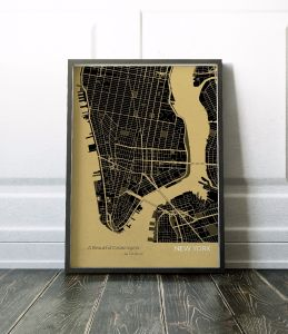 New York City Street Map Print - Straw