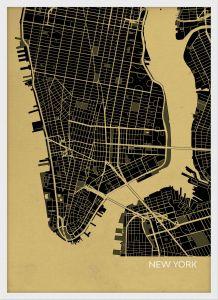 Small New York City Street Map Print - Straw (Wood Frame - White)