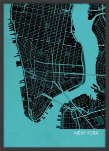 Small New York City Street Map Print - Turquoise (Wood Frame - Black)