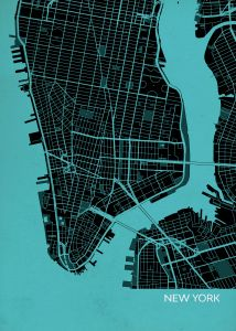 New York City Street Map Print - Turquoise