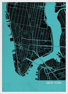 Small New York City Street Map Print - Turquoise (Wood Frame - White)