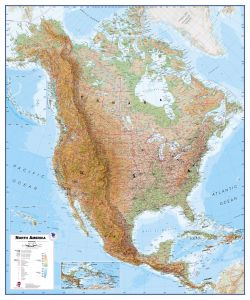 Physical North America Wall Map