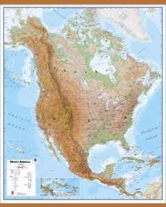 Large Physical North America Wall Map (Wooden hanging bars)