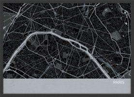 ARCH B Paris City Street Map Print - Charcoal (Wood Frame - Black)