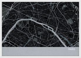 ARCH B Paris City Street Map Print - Charcoal (Wood Frame - White)