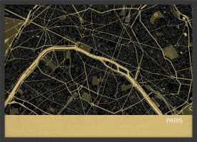 A3 Paris City Street Map Print Straw (Wood Frame - Black)