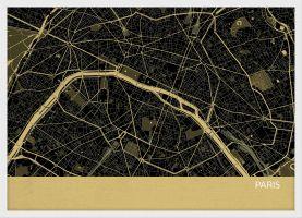 Small Paris City Street Map Print - Straw (Wood Frame - White)