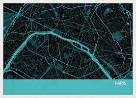 Small Paris City Street Map Print - Turquoise (Wood Frame - White)