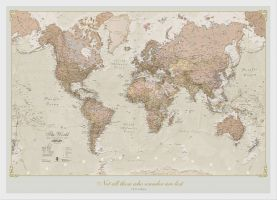 Medium Personalized Antique World Map (Pinboard & wood frame - White)