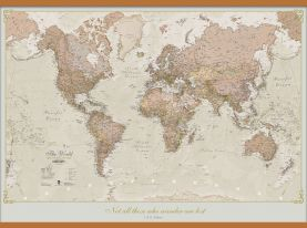 Huge Personalized Antique World Map (Wooden hanging bars)