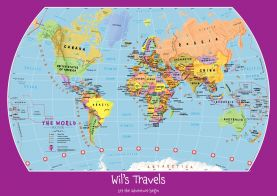Personalized Child's World Map