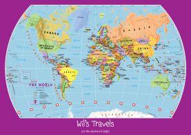 Personalized Child's World Map