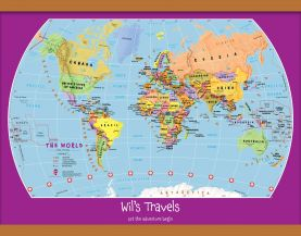Medium Personalized Child's World Map (Wooden hanging bars)