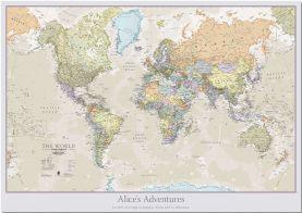 Medium Personalized Classic World Map (Pinboard)