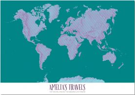 Small Personalized Pop Art World Map - Halftone (Pinboard)