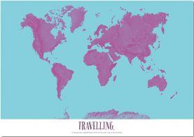 Medium Personalized Pop Art World Map - Radial (Pinboard)