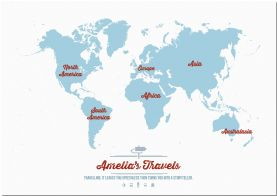 Large Personalized Travel Map of the World - Aqua (Pinboard)