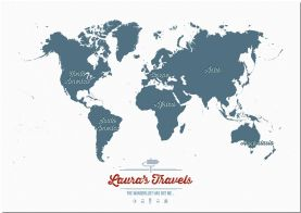 Large Personalized Travel Map of the World - Teal (Pinboard)
