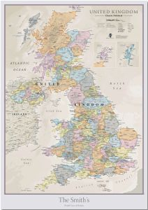 Large Personalized UK Classic Wall Map (Pinboard)