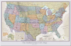 Large Personalized USA Classic Wall Map (Pinboard)