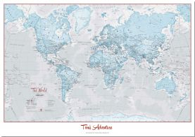 Large Personalized World Is Art - Wall Map Aqua (Pinboard)