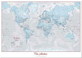Large Personalized World Is Art Wall Map - Aqua (Pinboard)