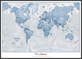 Large Personalized World Is Art - Wall Map Blue (Pinboard & wood frame - Black)