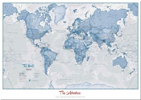 Large Personalized World Is Art - Wall Map Blue (Pinboard)