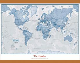 Medium Personalized World Is Art - Wall Map Blue (Wooden hanging bars)
