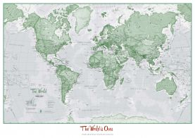 Personalized World Is Art - Wall Map Green