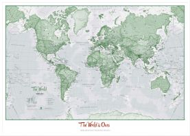 Large Personalized World Is Art - Wall Map Green (Wood Frame - White)