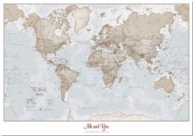 Medium Personalized World Is Art - Wall Map Neutral (Pinboard)