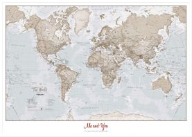 Large Personalized World Is Art - Wall Map Neutral (Pinboard & wood frame - White)