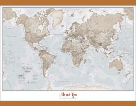 Medium Personalized World Is Art - Wall Map Neutral (Wooden hanging bars)