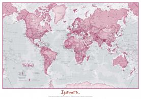 Personalized World Is Art - Wall Map Pink