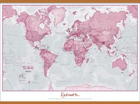 Large Personalized World Is Art - Wall Map Pink (Wooden hanging bars)