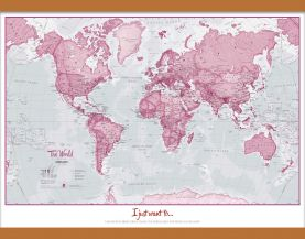 Small Personalized World Is Art - Wall Map Pink (Wooden hanging bars)