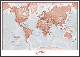 Large Personalized World Is Art - Wall Map Red (Wood Frame - Black)