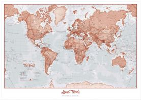Large Personalized World Is Art - Wall Map Red (Pinboard & wood frame - White)