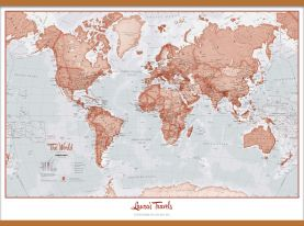 Huge Personalized World Is Art - Wall Map Red (Wooden hanging bars)