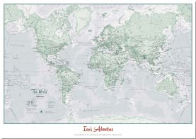 Large Personalized World Is Art Wall Map - Rustic (Pinboard)