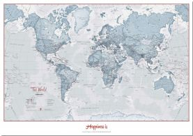 Large Personalized World Is Art - Wall Map Teal (Pinboard)