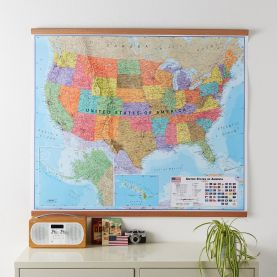 Large Political USA Wall Map (Wooden hanging bars)