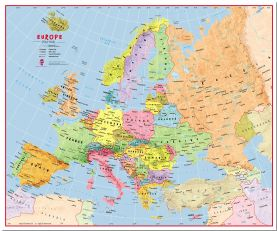 Large Primary Europe Wall Map Political (Pinboard)