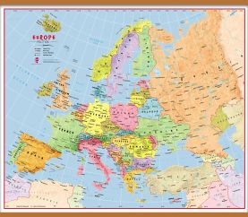 Large Elementary School Political Europe Wall Map (Wooden hanging bars)