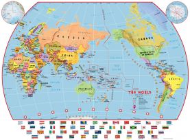Large Primary Pacific Centred World Wall Map Political with flags (Paper)