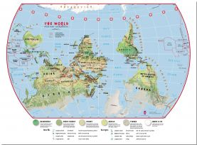 Large Elementary School Upside-Down Environmental World Wall Map (Pinboard)