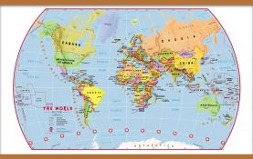 Large Elementary School Political World Wall Map (Wooden hanging bars)